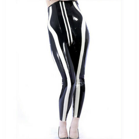LATEX DAMEN 100 GUMMI HOSE PANTS TROUSER LEGGING SCHWARZ MIT WEI 0 4MM S XXL