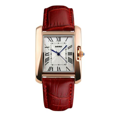 SKMEI BEAUTIFUL WOMENS WATCH SQUARE ROSE GOLD ROMAN NUMERALS REAL LEATHER STRAP