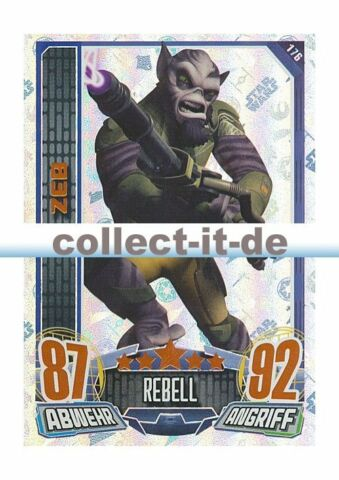 REBELL ATTAX SERIE 1 176 ZEB REBELL STAR WARS GLITZER KARTEN