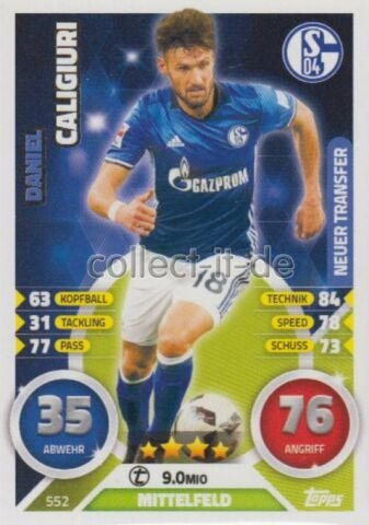 MATCH ATTAX EXTRA 16 17 2017 552 DANIEL CALIGIURI NEUER TRANSFER