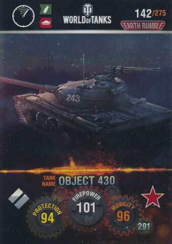 PANINI WORLD OF TANKS TRADING CARDS NR 142 NAME OBJECT 430 METAL CARD