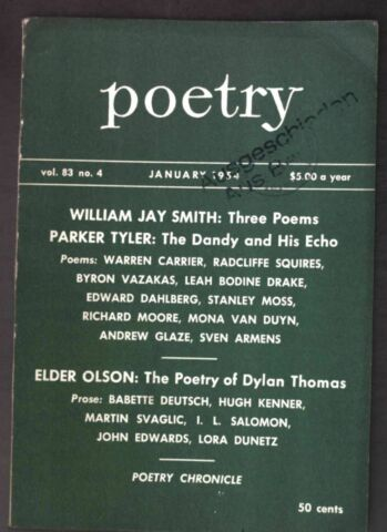 THE DANDY AND HIS ECHO IN VOL 83 NO 4 POETRY A MAGAZINE OF VERSE TYLER P