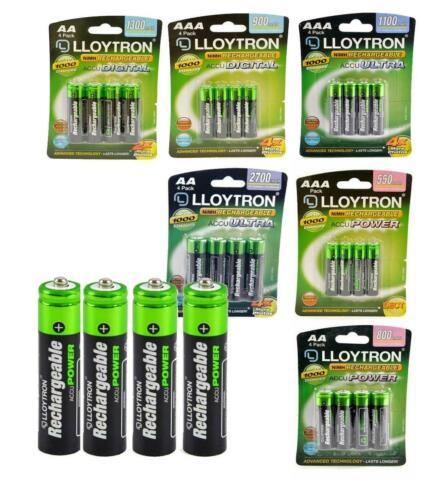 GENUINE LLOYTRON RECHARGEABLE AAA AA NIMH HIGH POWER BATTERIES DECT SOLAR ETC