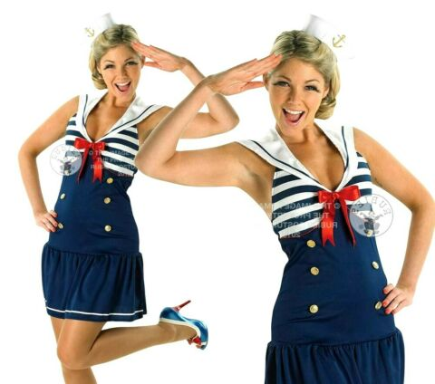 ADULT SAILOR GIRL 1930S 1940S UNIFORM MILITARY FANCY DRESS COSTUME LADIES OUTFIT