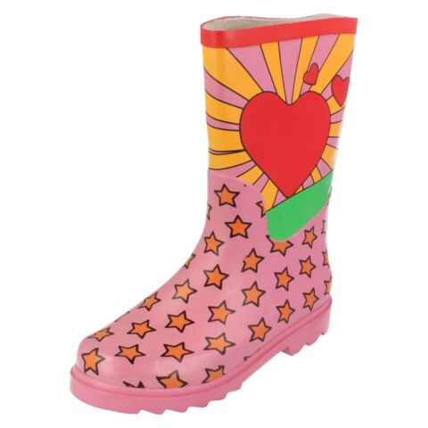 SPOT ON X1R059 GIRLS PINK MULTI WELLINGTONS WITH STARS AND HEARTS R12A