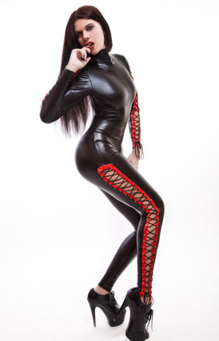 CATSUIT OVERALL GOTHIC LACK LATEX LOOK MIT SCHN RUNGEN LACE UP