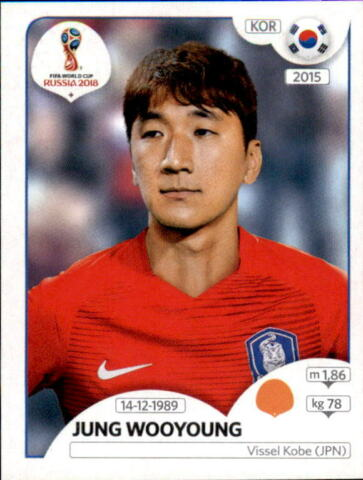 PANINI WM 2018 WORLD CUP RUSSIA STICKER 506 JUNG WOOYOUNG S DKOREA