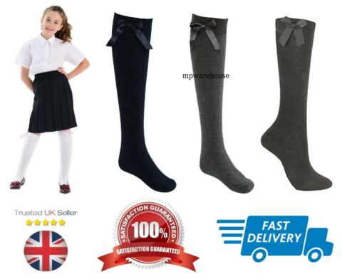 GIRLS SCHOOL SOCKS UNIFORM SOCKS WITH BOW RIBBON KNEE HIGH RIBBON SOCKS
