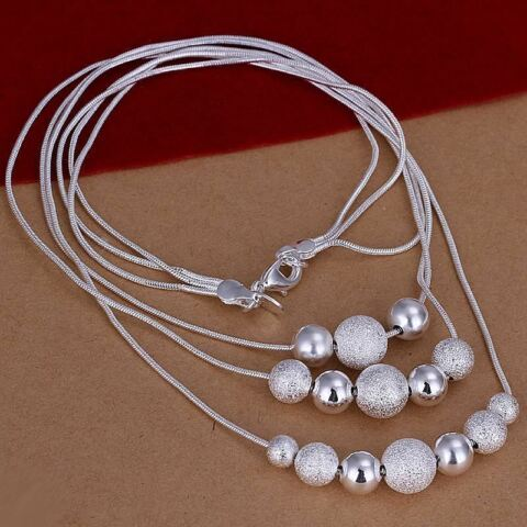 SILVER PLATED BEADED BALL LOVE NECKLACE 18 INCHES LONG