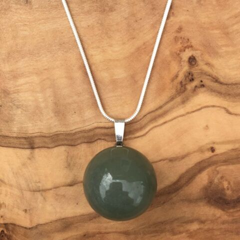 GREEN AVENTURINE BALL SPHERE PENDANT 20MM 20 SILVER NECKLACE LOVE POSITIVITY