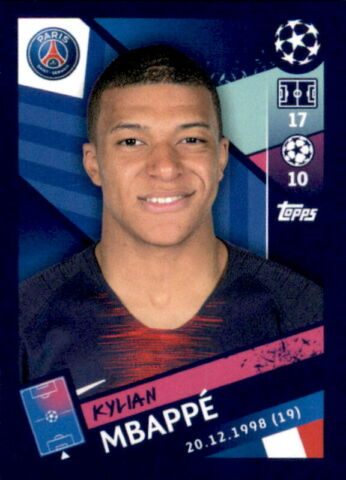 TOPPS CHAMPIONS LEAGUE 18 19 STICKER 324 KYLIAN MBAPPE