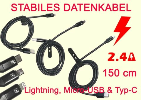 USBLADEKABEL LADE CABLE DATA CABLE LADEG RET F R S6 S9 LIGHTNING TYP C MICRO USB