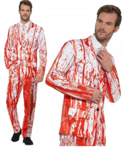 MENS BLOOD DROP SUIT HALLOWEEN FANCY DRESS COSTUME PROM KING OUTFIT M XL