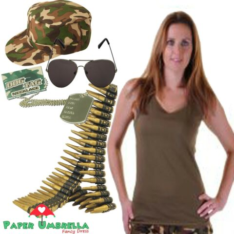 LADIES ARMY FANCY DRESS HEN PARTY MILITARY VEST CAP DOG TAG BULLET BELT OUTFIT