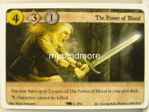 A GAME OF THRONES LCG 1X THE POWER OF BLOOD L194 ICE AND FIRE DRAFT PACK