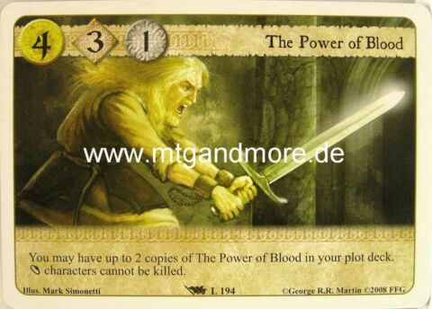 A GAME OF THRONES 1X THE POWER OF BLOOD 194 BASE SET