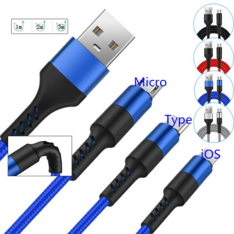 1M 2M 3M LONG MICRO USB DATA SYNC CHARGER CABLE LEAD FOR SAMSUNG ANDROID PHONES