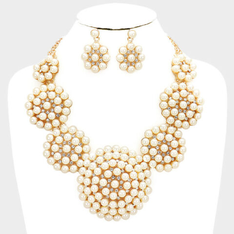 GLAM STATEMENT GOLD CRYSTAL CREAM PEARL BIB NECKLACE SET BY ROCKS BOUTIQUE