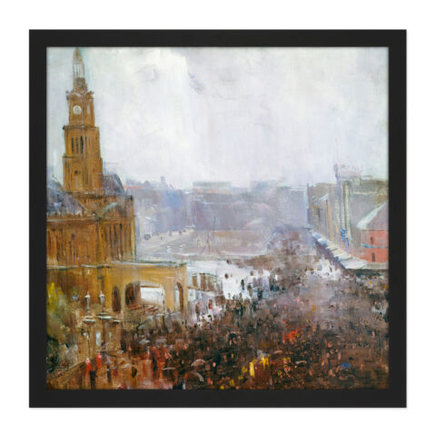 ARTHUR STREETON FIREMANS FUNERAL GEORGE STREET SQUARE FRAMED WALL ART 16X16 IN