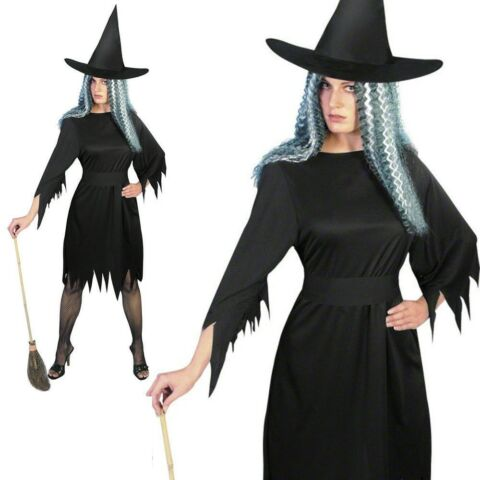ADULT SPOOKY WITCH COSTUME LADIES HALLOWEEN FANCY DRESS OUTFIT BLACK S L