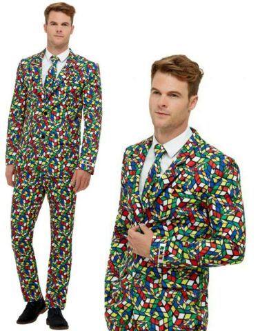 RUBIKS CUBE COSTUME 1980S MENS STAND OUT SUIT GAME FANCY DRESS OUTFIT