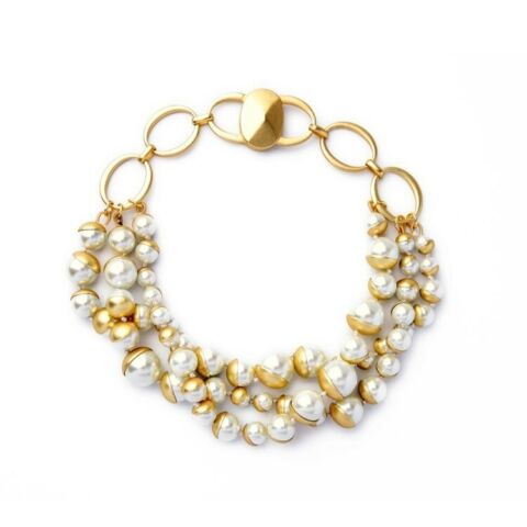 STUNNING MULTI LAYERED FAUX PEARL WITH GOLD DETAILING CHOKER NECKLACE