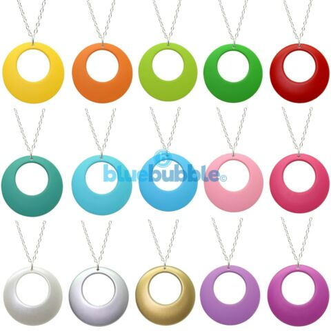 BLUEBUBBLE DISCO FEVER ROUND HOOP NECKLACE KITSCH 60S 70S 80S 90S RETRO FESTIVAL