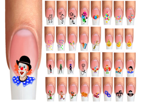 WRAPS NAIL TATTOOS PARTY KARNEVAL FASCHING CLOWN LUFTBALLONS RAKETE SMILEY