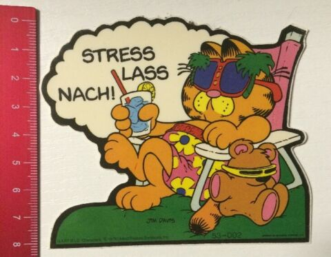 AUFKLEBER STICKER GARFIELD STRESS LASS NACH JIM DAVIS 06041629