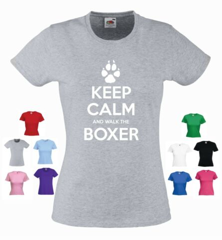 KEEP CALM AND WALK THE BOXER LADIES GIRLS FUNNY DOG PET T SHIRT