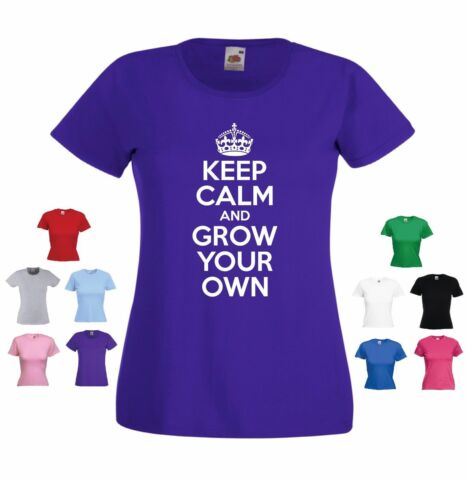 KEEP CALM AND GROW YOUR OWN LADIES GIRLS FUNNY GARDENING GARDENER T SHIRT