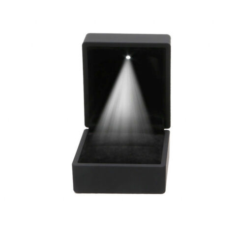 KUNSTSTOFF SAMT RING OHRRING SPEICHER DISPLAY BOX MIT LED LAMPE ROMANTISCH NP2