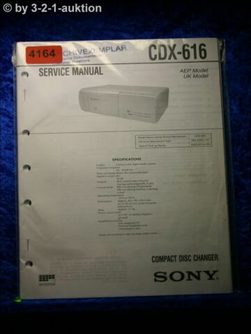 SONY SERVICE MANUAL CDX 616 CD CHANGER 4164