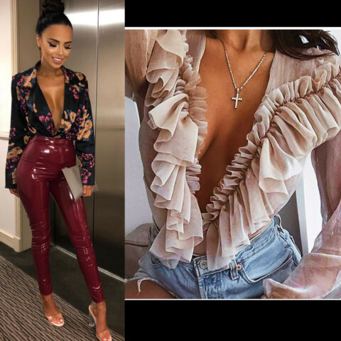 WOMEN FRONT V PLUNGE TOP LADIES LACE UP TIE BODYSUIT CHOKER TOP PADDED LEOTARD