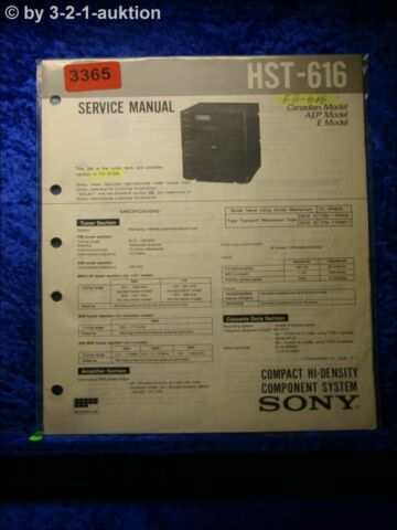 SONY SERVICE MANUAL HST 616 COMPONENT SYSTEM 3365
