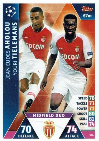 TOPPS MATCH ATTAX CHAMPIONS LEAGUE KARTE NR 306 AHOLOU TIELEMANS AS MONACO