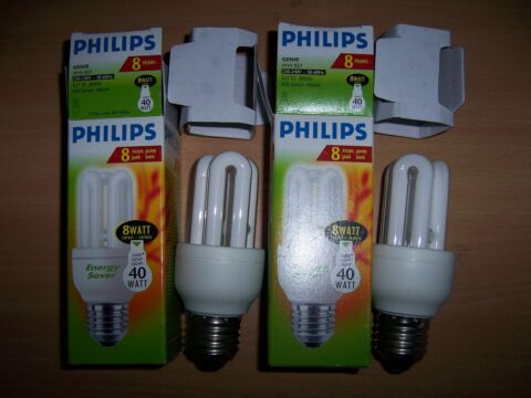 2 PHILIPS LEUCHTMITTEL ENERGIESPARLAMPEN ENERGY SAVER A E27 8W 40 W EEK F