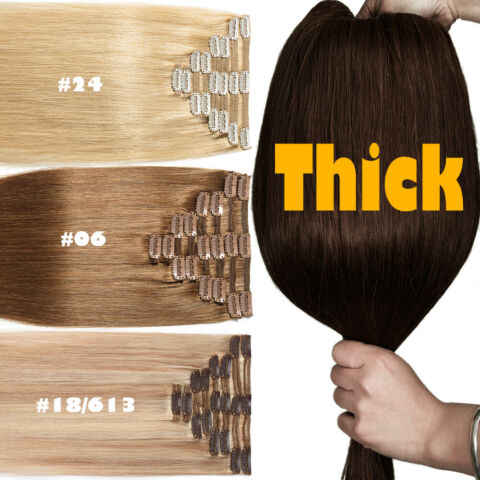 25CM 80CM SUPER DICK 8 ST CKE CLIP IN REMY ECHTHAAR EXTENSIONS 100 VOLLER KOPF