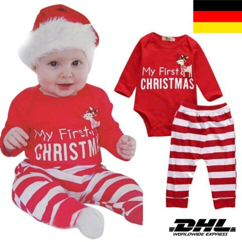 2019 BABY SET OUTFIT WEIHNACHTEN MY FIRST CHRISTMAS BODY HOSE STRAMPLER HAT DHL