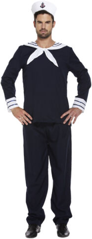 NAVY NAUTICAL SAILOR MAN MENS FANCY DRESS COSTUME OUTFIT SIZE M L P8063