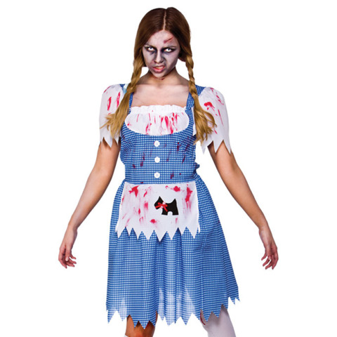 ZOMBIE DOROTHY FANCY DRESS LADIES FAIRYTALE HORROR WOMENS COSTUME OUTFIT UK 6 24
