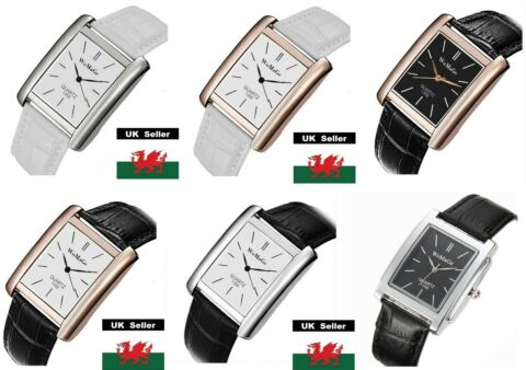 LADIES SQUARE BLACK OR WHITE FACE SILVER OR GOLD BEZEL GENUINE LEATHER WATCH