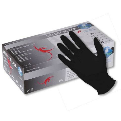 PIA 100 EXTRA LANGE LATEX HANDSCHUHE SCHWARZ SELECT BLACK 300 IN GR E M XL