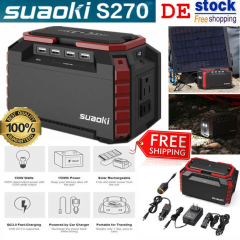 SUAOKI S270 150WH SOLARGENERATOR JUMP STARTER BATTERIE LADEGER T POWER SOURCE EU