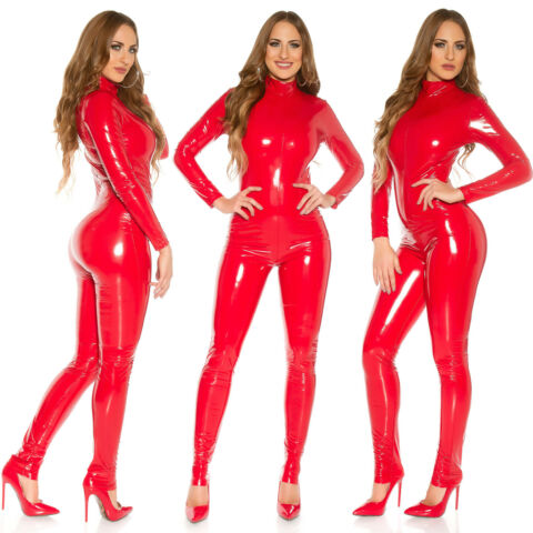 SEXY RED LATEX JUMPSUIT LONG SLEEVED WET LOOK CATSUIT GLOSSY SHINE OVERALL UK 8