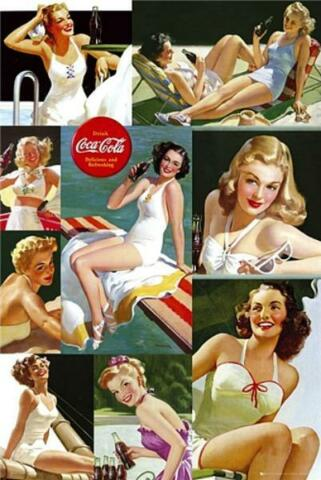 COCA COLA GIRL COLOUR COLLAGE MAXI POSTER 61CM X 91 5CM NEW AND SEALED