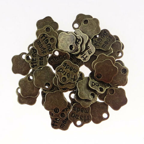 HAND MADE BLUME ANH NGER 100 ST CK LABEL 8MM BRONZEFARBE METALL P00692X4