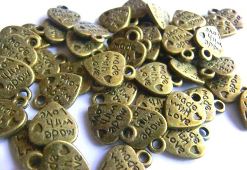 100 ANH NGER CHARMS HERZ MADE WITH LOVE FARBE BRONZE S314