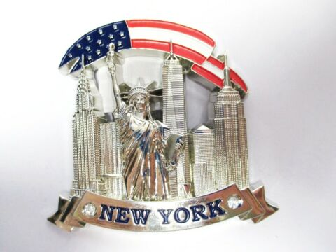 NEW YORK METALL MAGNET EMPIRE FREEDOM WORLD TRADE SOUVENIR USA 142