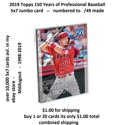 101 TY COBB TIGERS HOF 5X7 SILBER 49 MADE 2019 TOPPS 150 YEARS OF